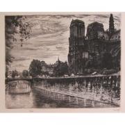 Galerie Seydoux - Estampe - Louis-Marcel MYR - Notre-Dame de Paris vue du quai de Montebello
