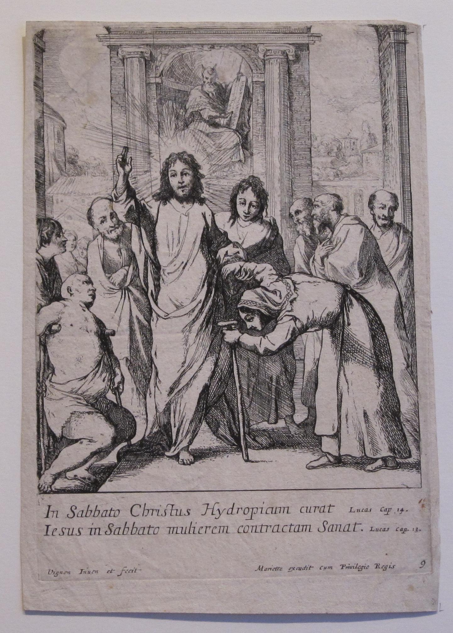 Claude VIGNON – Jésus Christ guérit un paralytique et une femme courbée au  jour du sabbat.